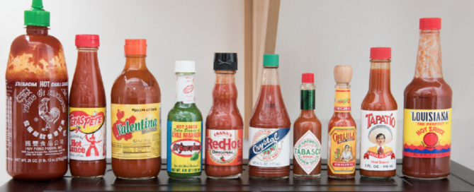 A selection of the top-name hot sauce brands in America today