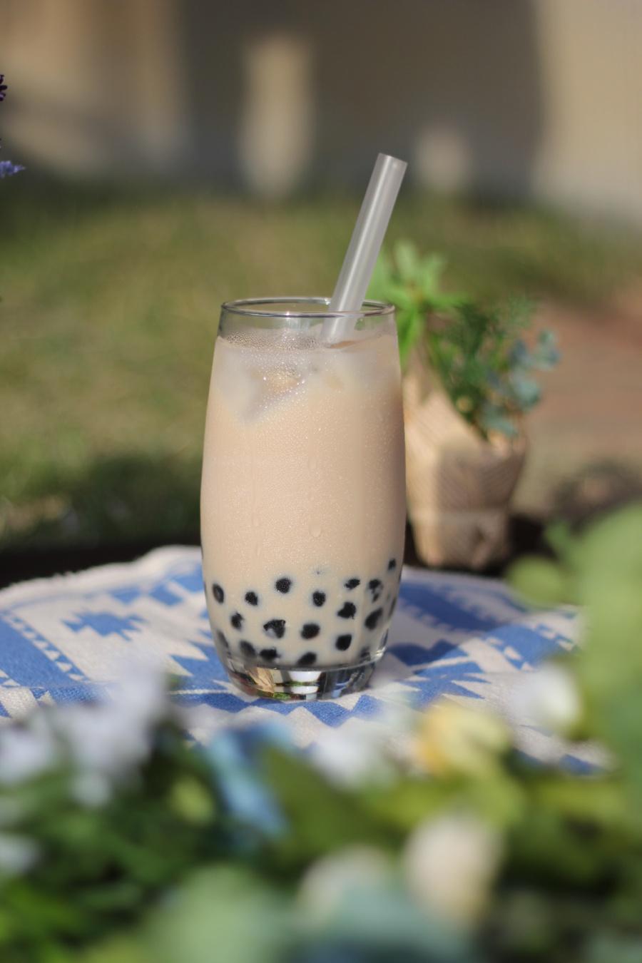 Boba Pearl Milk tea in a Glass