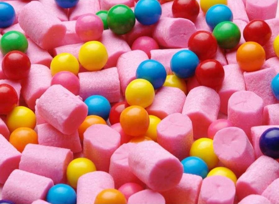 Bubble gum slabs and balls
