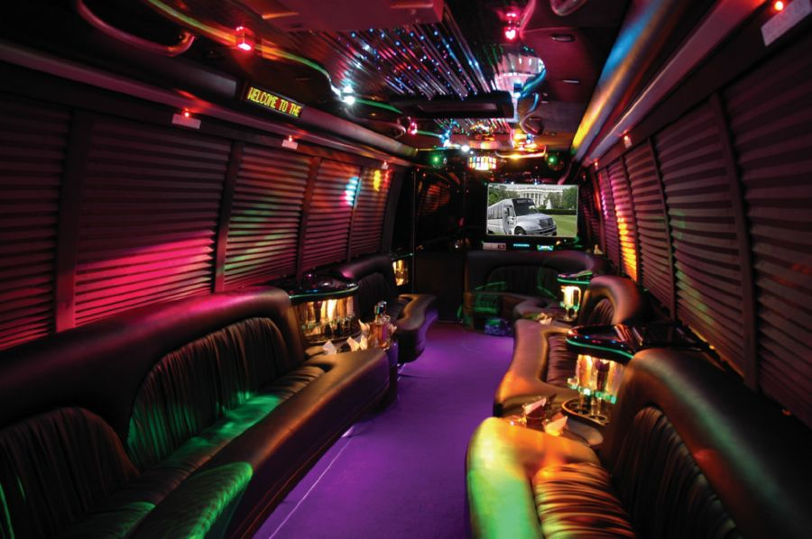 Interior view of a modern party bus