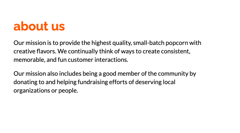 about us popcorn business