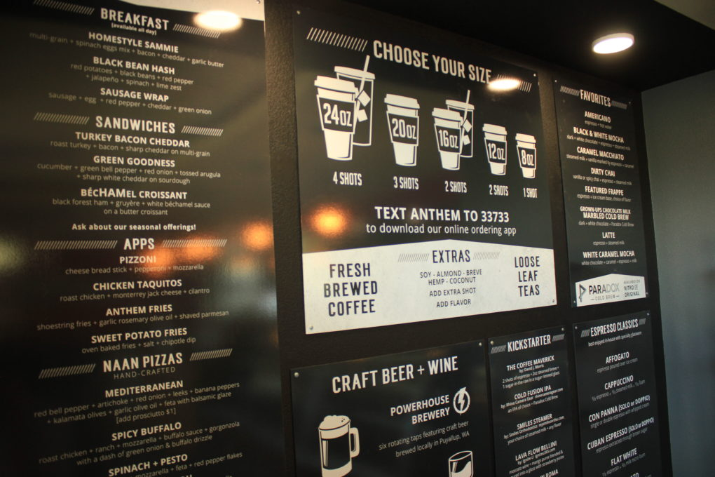 anthem coffee menu