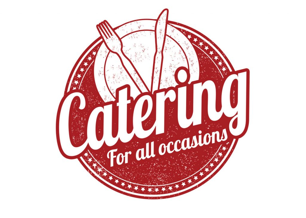 Plate, fork and knife advertising catering for all occasions.