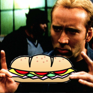 The man. The Myth. Nicholas Cage with a sandwich.