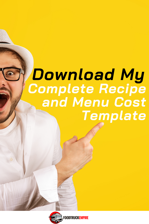 Menu Recipe Cost Template Download Free Spreadsheet