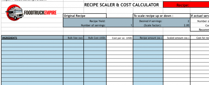 sample menu cost calculations